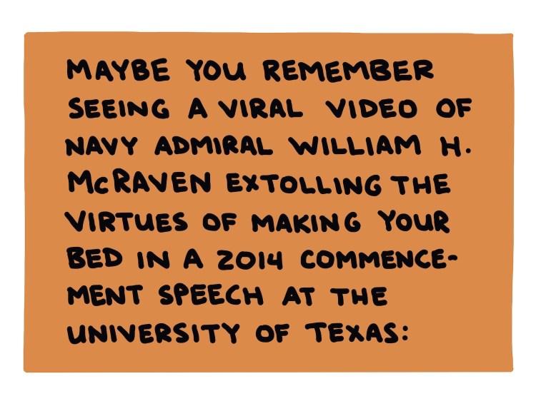 handwritten text about Admiral William H. McRaven's 2014 commencement speech