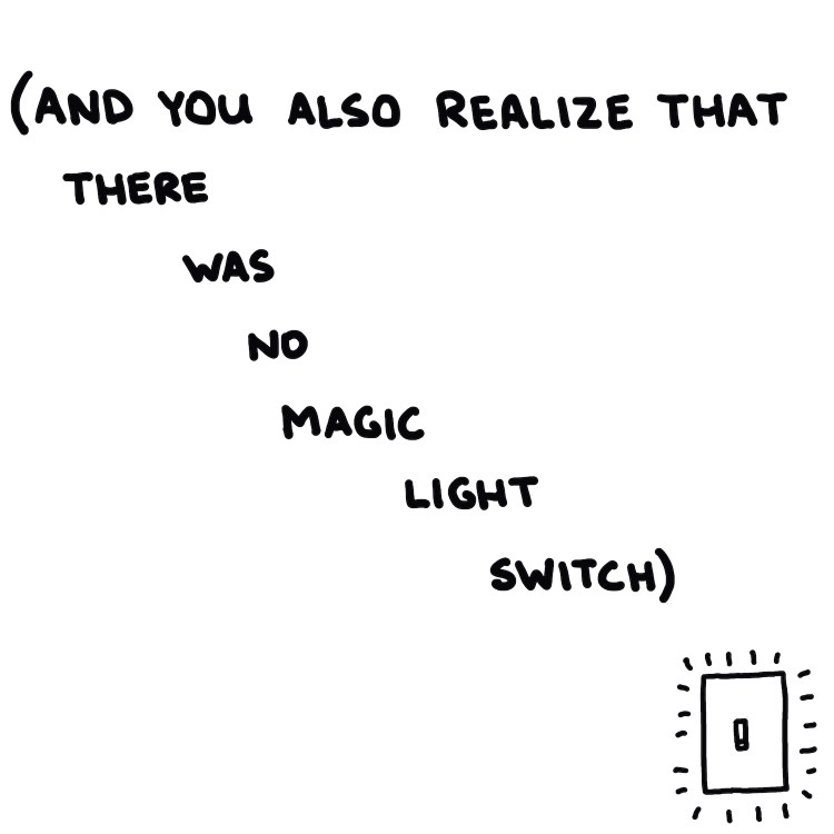 handwritten text and drawing of a light switch