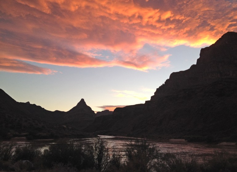 sunset over Diamond Peak in the grand canyon