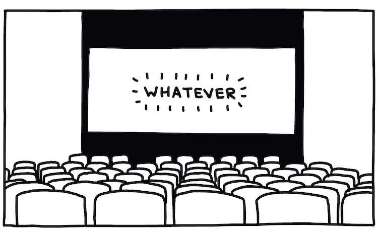 """drawing of movie theater with """"whatever"""" on screen"""