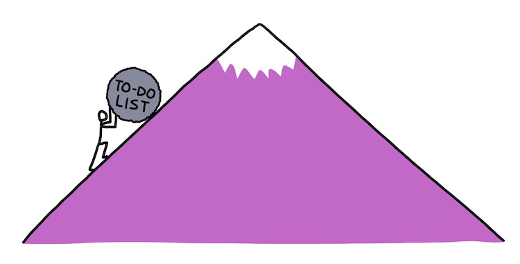 "hand-drawn stick figure of sisyphus pushing rock labeled ""to-do list"" up a hill"