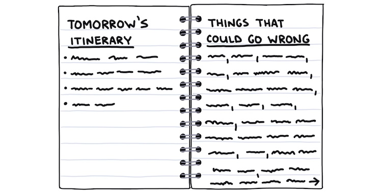 "hand-drawn notebook showing two pages, ""tomorrow's itinerary"" and ""things that could go wrong"""