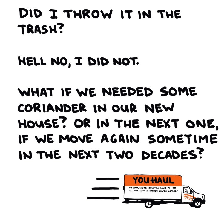 handwritten text and drawing of moving truck
