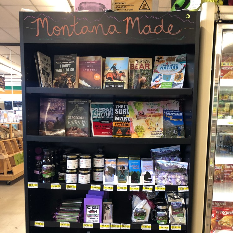 photo of shelf of Montana made food products, and some books