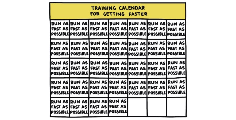 """hand-drawn chart: """"training calendar for getting faster"""""""