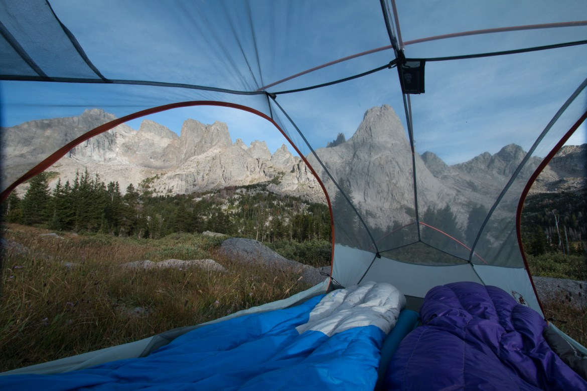 view from a tent in the Cirque of the Towers in Wyoming's Wind River Range