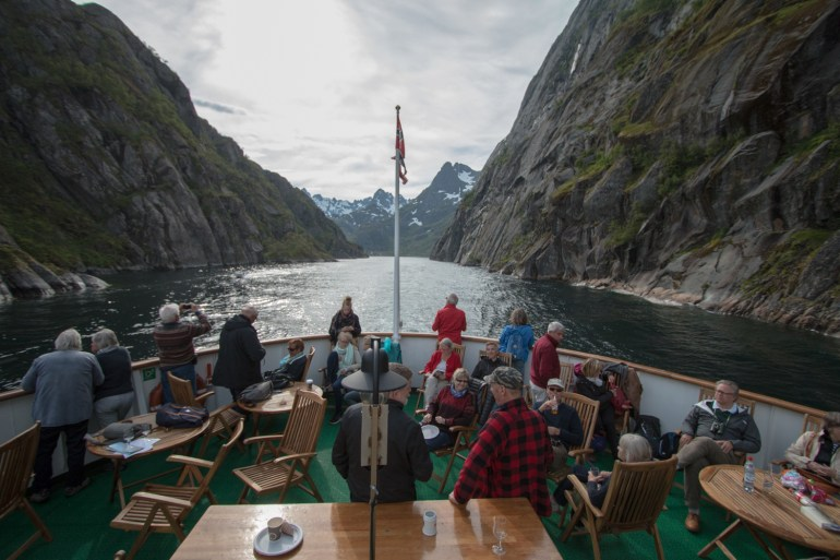 The MS Lofoten exiting the narrow passageway to the famous Trollfjord.