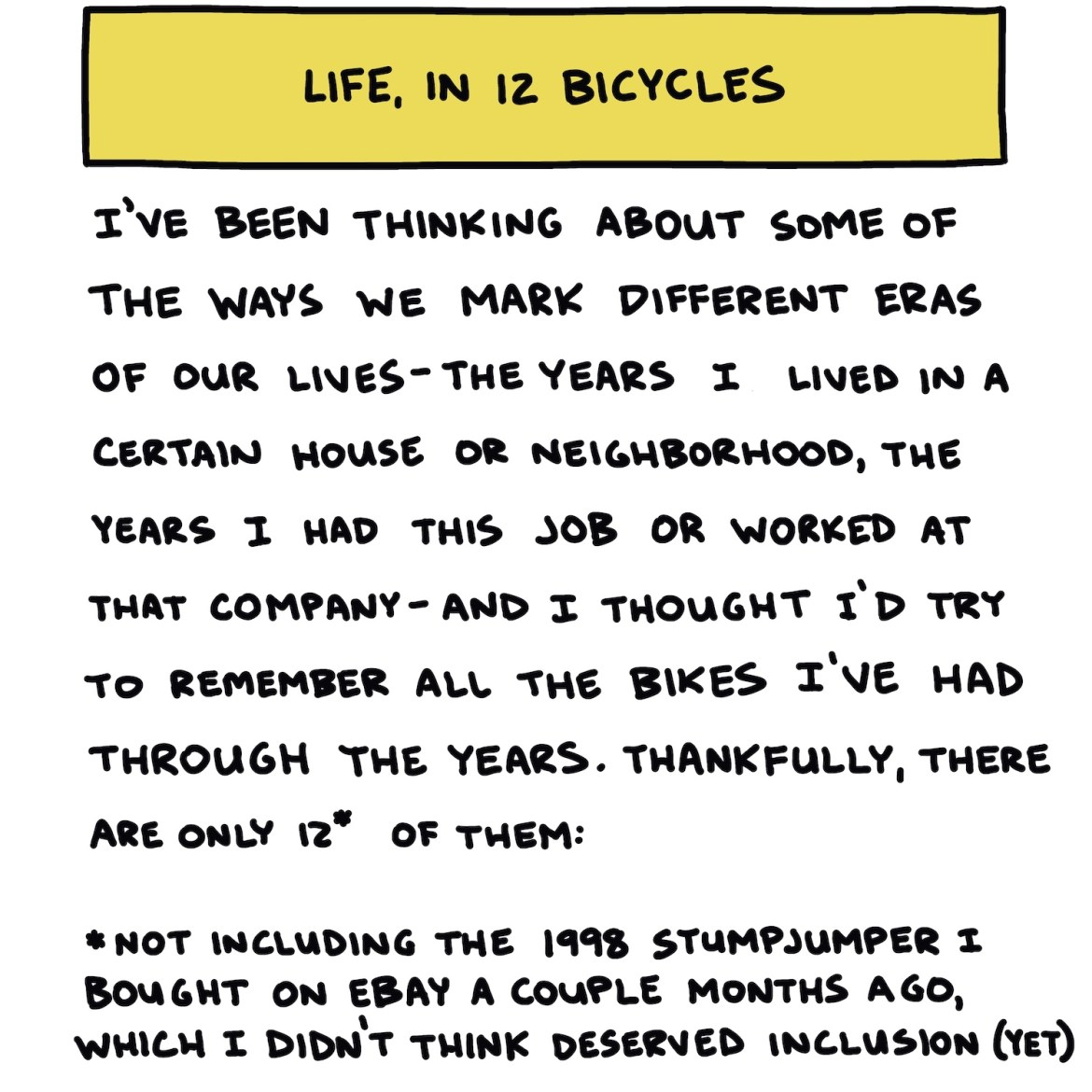 "Hand-drawn title slide reading ""Life, In 12 Bicycles"""