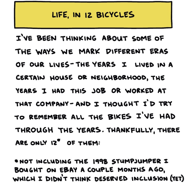 """Hand-drawn title slide reading """"Life, In 12 Bicycles"""""""