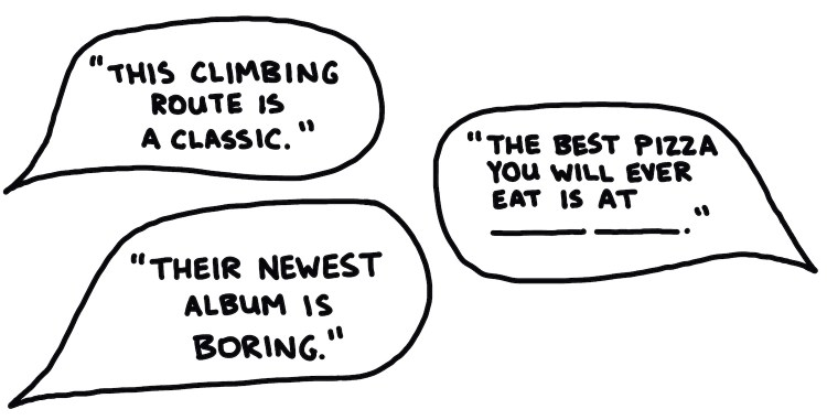 drawing of dialogue bubbles saying things that sound objective