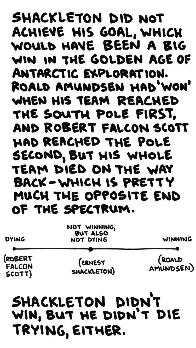 handwritten text and spectrum of Antarctic exploration from dying to winning