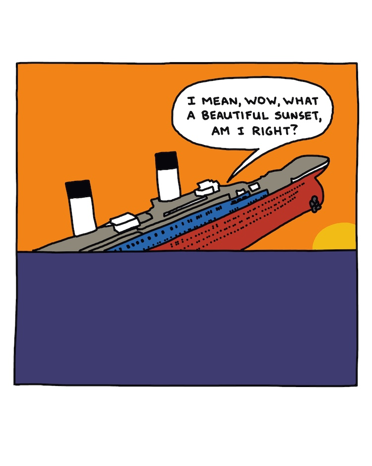 drawing of a sinking ship