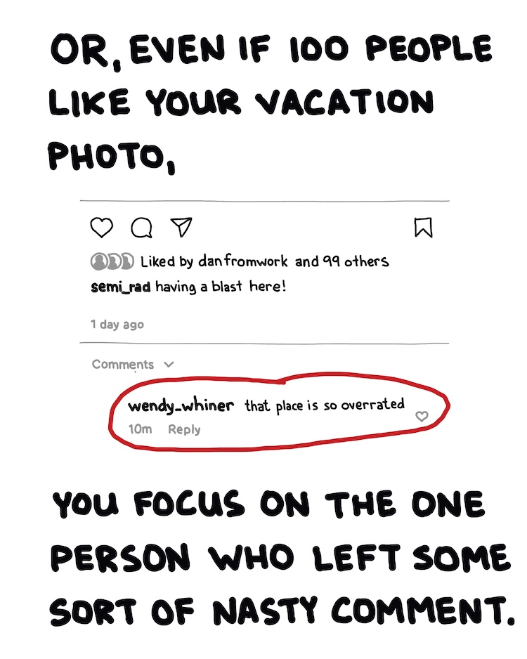 handwritten text and instagram comment