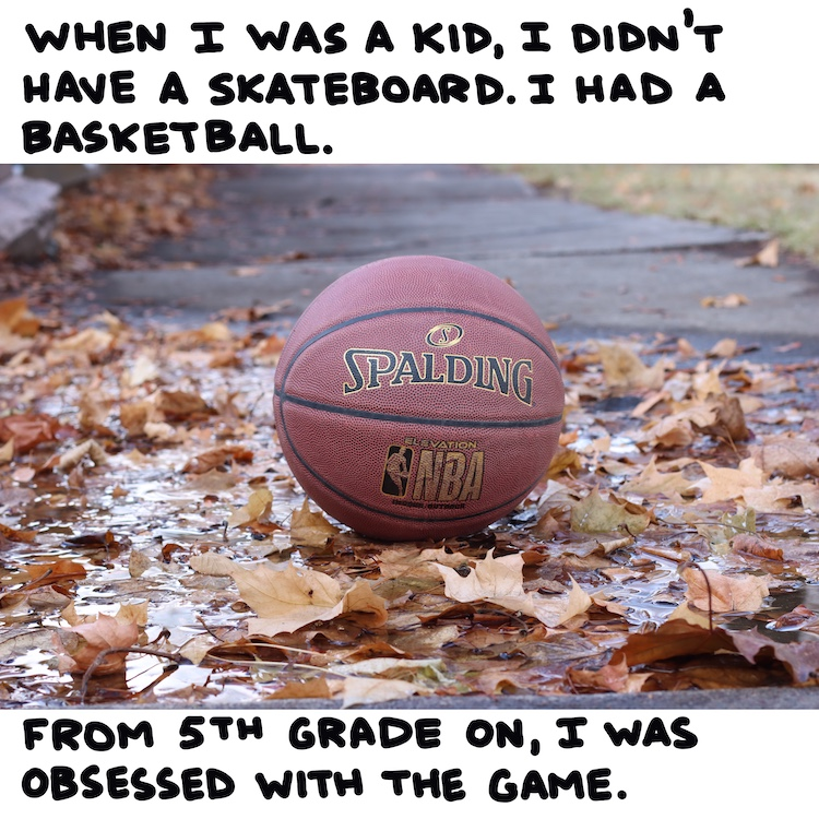 handwritten text and photo of basketball