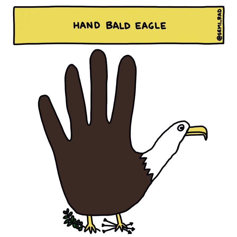 semi-rad hand bald eagle