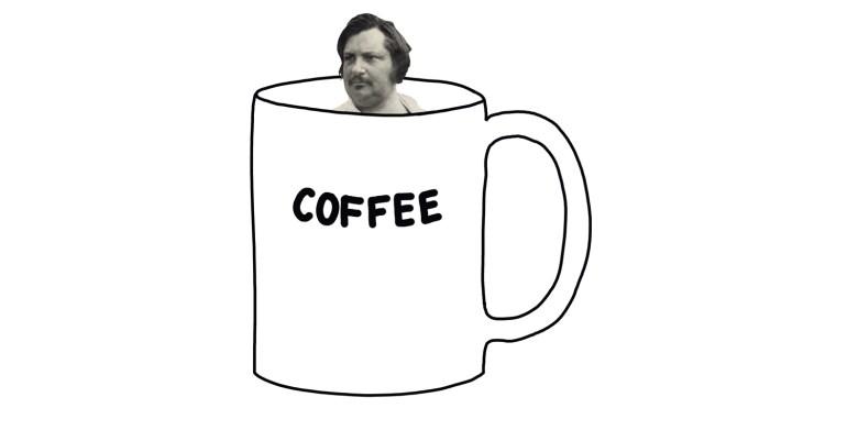 drawing of balzac in giant cup of coffee