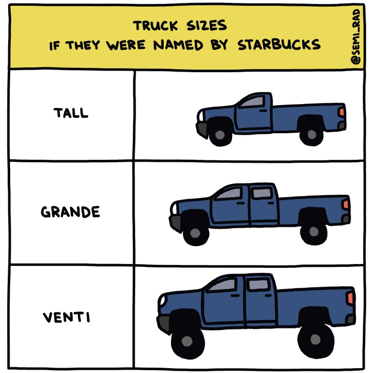 semi-rad chart: truck sizes, if they were named by starbucks