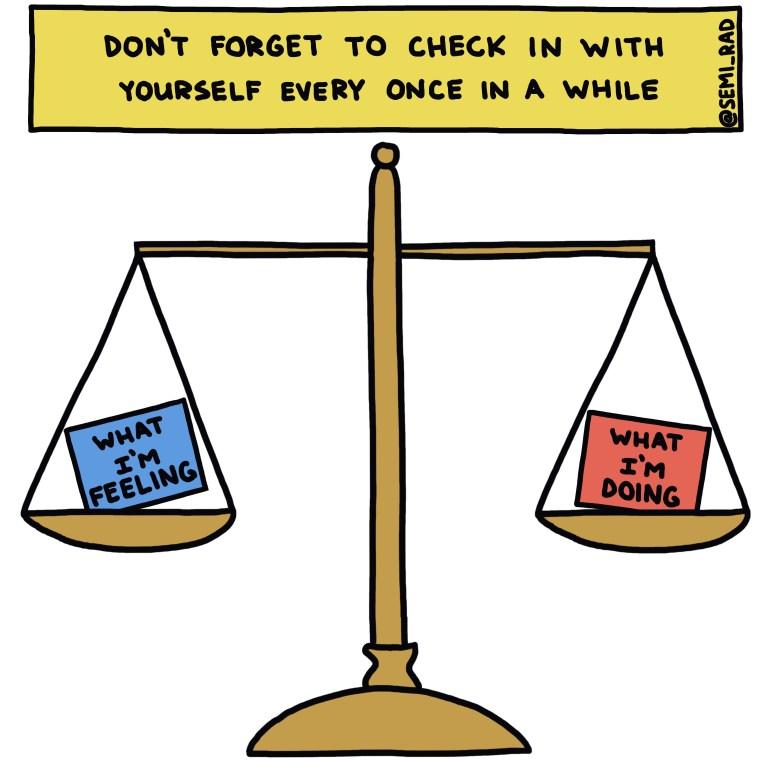 semi-rad illustration: what I'm feeling vs. what I'm doing