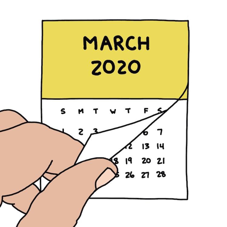 drawing of hand flipping calendar