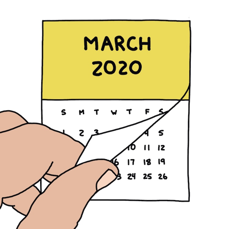 drawing of hand flipping a calendar