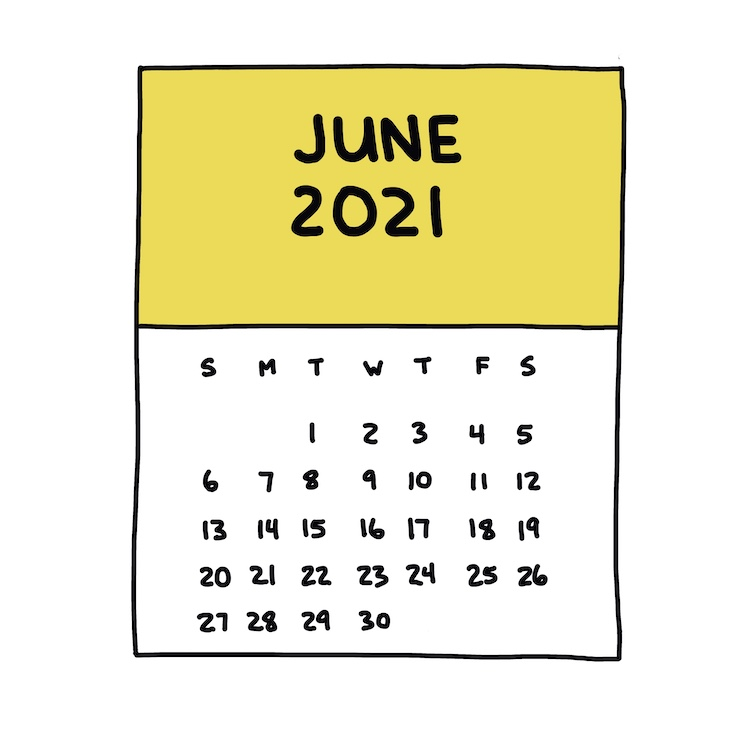 hand-drawn june 2021 calendar