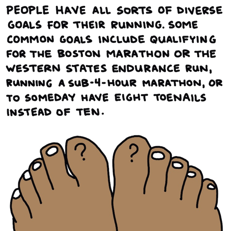 drawing of toes and handwritten text: people have all sorts of diverse goals for their running. Some common goals include qualifying for the Boston Marathon or the Western States Endurance Run, running a sub-4-hour marathon, or to someday have eight toenails instead of ten
