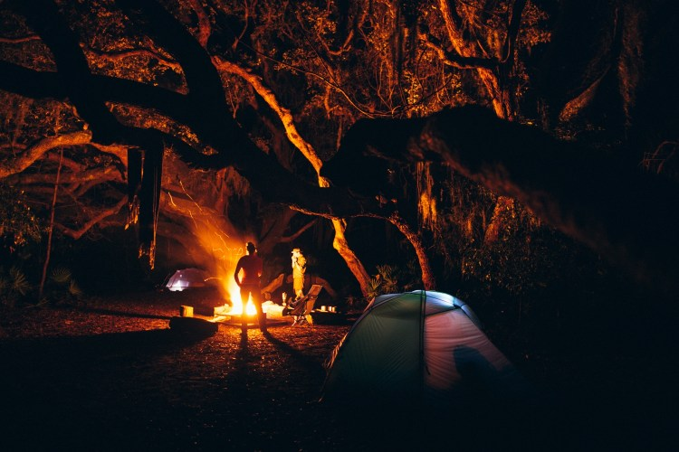 forest woodward photo of campers around campfire and tents
