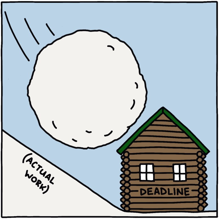 """drawing of snowball and text reading """"actual work,"""" with snowball about to smash log cabin reading """"deadline"""""""