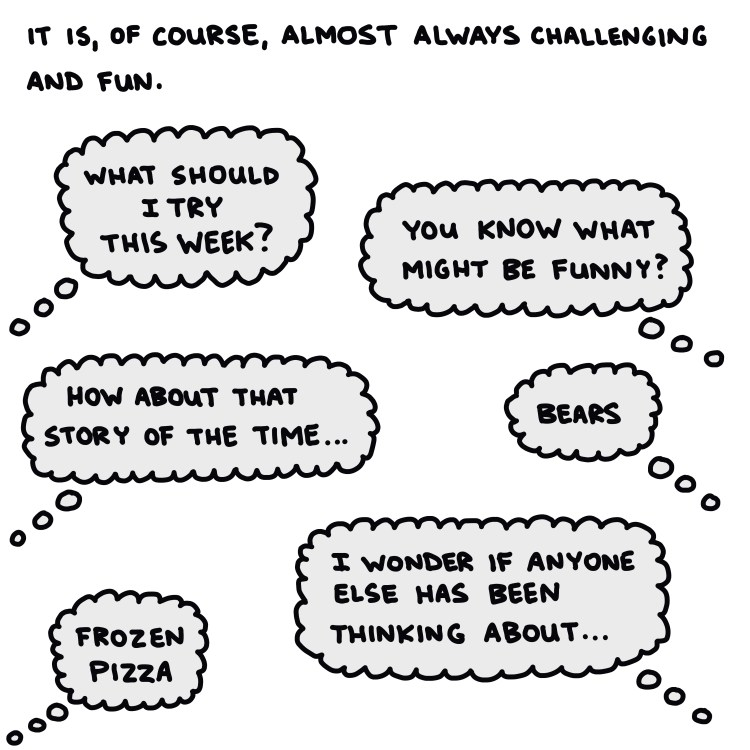 drawing of thought balloons and text: it is of course, almost always challenging and fun