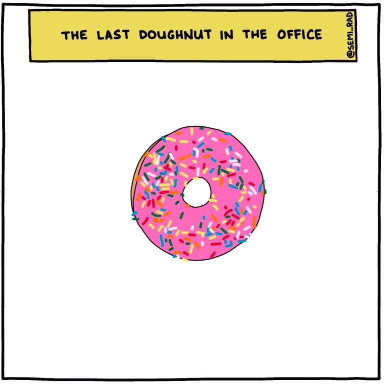 semi-rad illustration - the last doughnut in the office 1