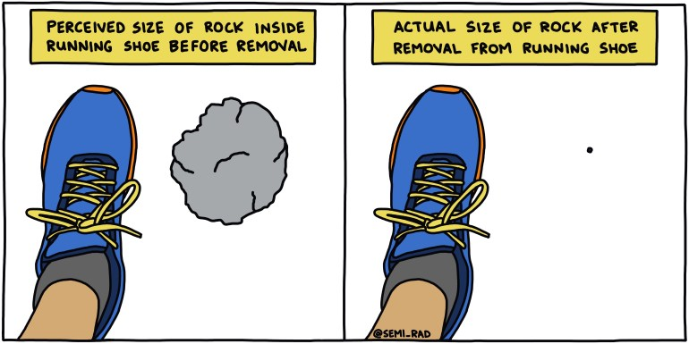 semi-rad illustration: perceived size of rock inside running shoe before removal vs. actual size of rock after removal from running shoe
