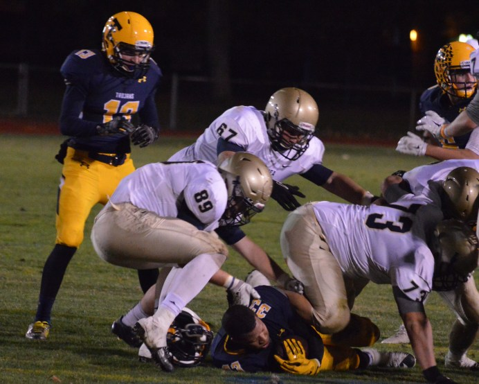 Ty makes a big stop along with his teammates against Trenton in the playoffs