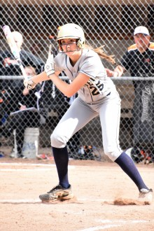Peighton Root bats for the Bulldogs