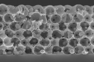 The cross-section micrograph of the thermal emitter shows the ceramic-coated tungsten retained structural integrity after being subjected to 2,500 F (1,400 C) for one hour. (Source: Stanford University)
