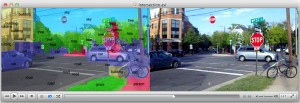 Researchers are working to enable smartphones and other mobile devices to understand and immediately identify objects in a camera's field of view, overlaying lines of text that describe items in the environment. Here, a street scene is labeled by the prototype, running up to 120 times faster than a conventional cell-phone processor. (Source: Purdue University)