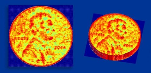 3D images produced by the new NCI chip. The images, taken from roughly half a meter (1.5 feet) away, shows the height of a US penny at various points (left) and an angled side view of the penny (right).  (Source: Ali Hajimiri/Caltech)