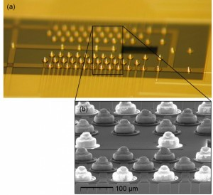 """Photograph and SEM images of the gold studs attached to the interposer—these form the """"ball bonds"""" used to connect the trap and interposer chips. (Source: Georgia Institute of Technology and Honeywell)"""