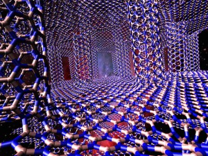 A 3D structure of hexagonal boron nitride sheets and boron nitride nanotubes could be a tunable material to control heat in electronics, according to researchers at Rice University. (Source: the Shahsavari Group at Rice University)