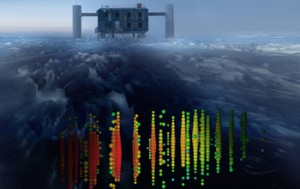 The IceCube Neutrino Observatory produced a recording of a neutrino event. (Source: National Science Foundation)