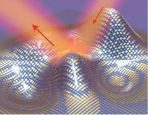 A 3D illustration of a metasurface skin cloak made from an ultrathin layer of nanoantennas (gold blocks) covering an arbitrarily shaped object. Light reflects off the cloak (red arrows) as if it were reflecting off a flat mirror. (Source: Berkeley Lab)