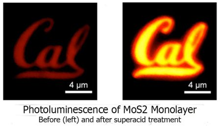 A MoS2 monolayer semiconductor shaped into a Cal logo. The image on the left shows the material before it was treated with superacid. On the right is the monolayer after treatment. (Source: Matin Amani/UC Berkeley)