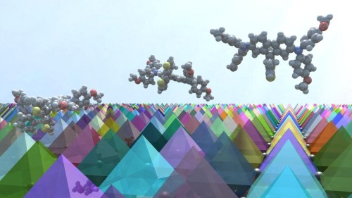 3-D illustration of FDT molecules on a surface of perovskite crystals. (Source: Sven M. Hein/EPFL)