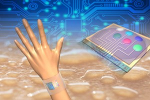 Wearable sensors measure skin temperature in addition to glucose, lactate, sodium and potassium in sweat. Integrated circuits analyze the data and transmit the information wirelessly to a mobile phone. (Source:  UC Berkeley)