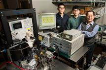 Pictured are, from left, graduate students Curtis Wang and Michael Liu with professor Milton Feng. (Source: University of Illinois)
