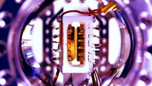 Close-up photo of an ion trap. (Source: University of Maryland)
