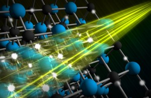 An illustration shows how laser light excites electrons. (Source: SLAC)