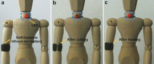 "The battery as an armband on a doll. (Source: ""A Self-Healing Aqueous Lithium-Ion Battery""/Wiley-VCH 2016)"