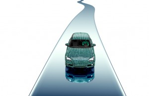 self driveing electronic computer car on road, 3d illustration