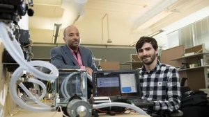 Georgia Tech researchers have developed a new form of ransomware that can take over control of a simulated water treatment plant. The simulated attack was designed to highlight vulnerabilities in the control systems used to operate industrial facilities. Shown are (left) Raheem Beyah, associate chair in the Georgia Tech School of Electrical and Computer Engineering, and David Formby, a Georgia Tech Ph.D. student. (Source: Georgia Tech)