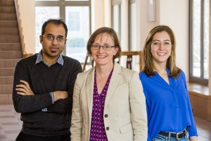 Researchers including Professor Margaret Martonosi (center) and graduate students Yatin Manerkar and Caroline Trippel have developed a tool that eliminates bugs by checking computer processor designs for memory issues. The tool is already leading to improvements in a major open-source chip project. (Source: Princeton University)